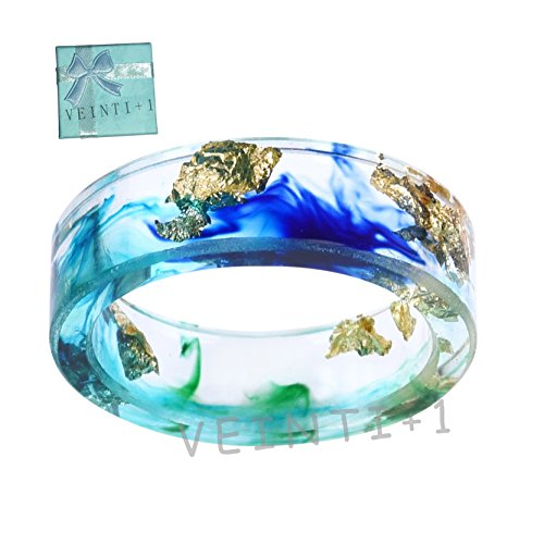 - New Arrival Handmade Ocean Style Colorful Ink Transparent Resin/Plastic Women/Men's Charm Ring (18mm/US#8)