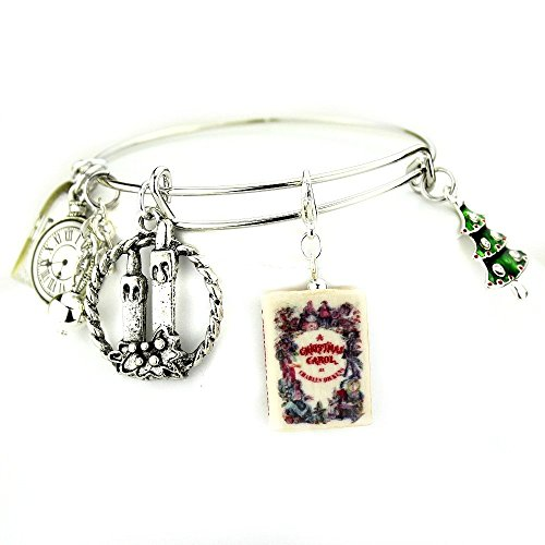 [A CHRISTMAS CAROL Charles Dickens Clay Mini Book Expandable Bangle Bracelet by Book Beads] (Scott Hall Costume)