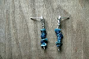 Aros. 6,9 Quilate azul cuando Verbeek plata esterlina, bacará, o francés headphonics alambre aretes. Forma libre diseño., Silver Stud