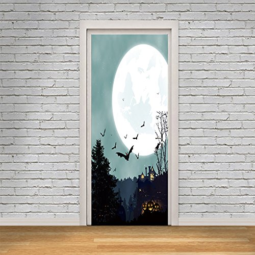 Kezhy New 3D Pumpkin Scary Wall Sticker Wallpaper Witch Scarecrow Decal Wall Door Sticker Party Halloween Decoration 77X200Cm]()