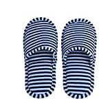 Reusable Anti-Slip Indoor Slippers Portable Foldable Soft Cotton Slippers Home Hotel Travel (Man-Blue-Stripe)