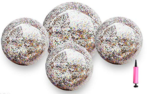 Waloden 4 Pieces Glitter Beach Ball Sequin Inflatable Ball Inflated Pool Ball for Summer Water Party (24 Inch-1 Piece, 16 Inch-3 Pieces)