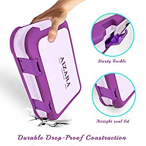 Kids Lunch Boxes - Aizara Leakproof 4-Compartment Bento Box for Kids and Toddler,Travel and On-the-go Meal and Snack Packing Food Storage Container (Purple)