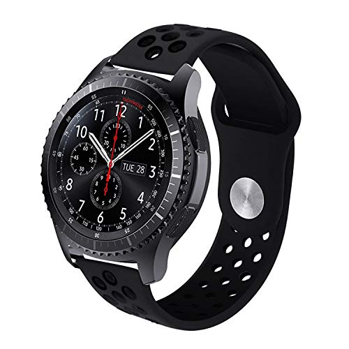 Compatible Samsung Gear S3 Frontier/Classic Bands, Galaxy Watch 46mm Bands,Moto 360 2nd Gen 46mm Watch Band,22mm Silicone Breathable Replacement Strap for Gear S3 Frontier Smart Watch (Black-Black)