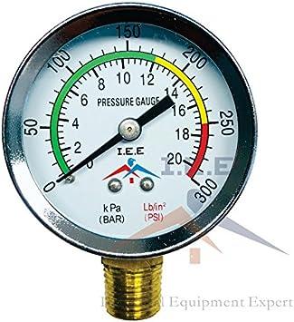 Brass Water Gas Center Back Mount 0-300PSI Oil Stainless Steel Case 1//4 NPT 2-1//2 Utility Pressure Gauge