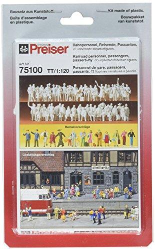 Preiser 75100 Unpainted Figure Set Package(72); 1:120 TT Scale Railroad Workers, Passers by, Passengers TT Model Figure from Preiser