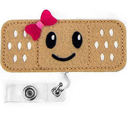 Nurse Badge Reel Holder - Smiley FACE - RN Badge - Bandage Badge Reel - Perfect Nurse Gifts for Women - by BadgeZoo (Pink) (School Nurse Supplies)