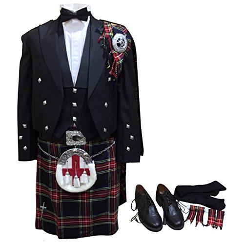 Traditional Scottish Woman Costume (18 Pcs Prince Charlie Jacket, Vest, Kilt etc Outfit Set)