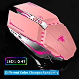 TENMOS T12 Wireless Gaming Mouse Rechargeable, 2.4G Silent Optical Wireless Computer Mice with Changeable LED Light Compatible with Laptop PC, 7 Buttons, 3 Adjustable DPI