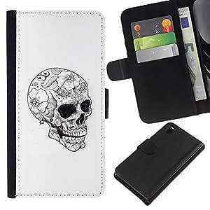 EJOY---La carpeta del tirón la caja de cuero de alta calidad de la PU Caso protector / Sony Xperia Z3 D6603 / --Cráneo floral tatuaje Negro Oscuro Blanca