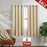 Beige Curtains 63 inch 4 Panels Blackout Bedroom Window Curtains Room Darkening Thermal Insulated Drapes Grommet Top For Sale