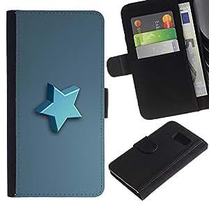 Protector de cuero de la PU de la cubierta del estilo de la carpeta del tirón BY RAYDREAMMM - Sony Xperia Z3 Compact - Estrella azul