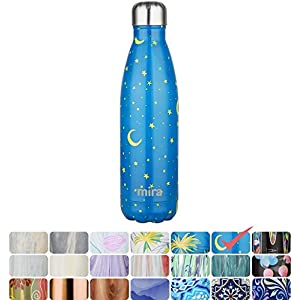 MIRA Vacuum Insulated Travel Water Bottle | Leak-proof Double Walled Stainless Steel Cola Shape Portable Water Bottle | No Sweating, Keeps Your Drink Hot & Cold | 17 Oz (500 ml) (Stars)