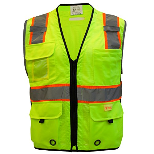 RK Safety P6612 Class 2 High Visible Two Tone Reflective Strips Breathable Mesh Vest, Pockets Harness D-Ring Pass Thru, ANSI/ISEA, Construction Motorcycle Traffic Emergency (Lime, Medium) by New York Hi-Viz Workwear (Image #1)