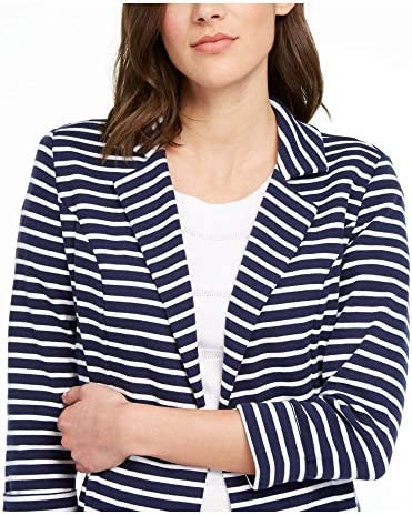 Maison Jules Womens Navy Striped Suit Wear to Work Jacket Size: XS