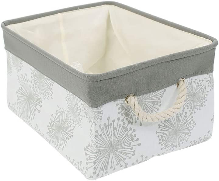 """uxcell Small Storage Basket or Bin with Rope Handles, Collapsible laundry Basket Bins for Toy Bedroom Closet Laundry Organizer,Gray Gypsophila (Small -12.2"""" x 8.3"""" x 5.1"""")"""