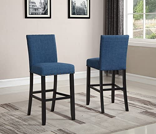 Roundhill Furniture Biony Fabric Bar Stools with Nailhead Trim Set of 2 , Blue