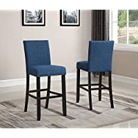 Roundhill Furniture PC164BU Biony Fabric Bar Stools with Nailhead Trim (Set of 2), Blue