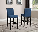 Roundhill Furniture PC164BU Biony Fabric Bar Stools with Nailhead Trim (Set of 2), Blue Review