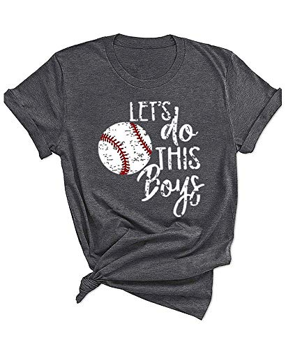 Qrupoad Womens Let's Do This Boy Baseball Mom Tshirt Casual Funny Graphic Tees Tops Gray