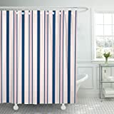 Pink and Navy Shower Curtain TOMPOP Shower Curtain Stripes Modern in Colors Rose Pink Navy Blue Abstract Waterproof Polyester Fabric 72 x 72 Inches Set with Hooks