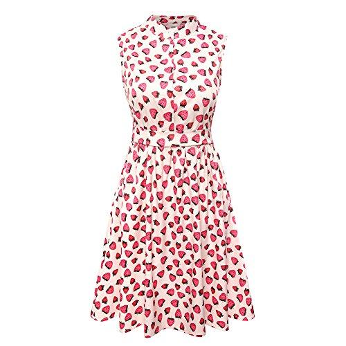 (yangelo Women's Strawberry Prints Vintage Dress A-line Cute Swing Party Dresses (Pink_1, M))