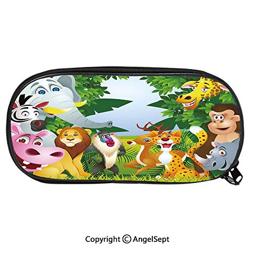 Pattern Pencil Bag Group of Safari Jungle Animals with Funny Expressions Cute African Savannah Mascots for Kids Boys Girls School Students Pencil Case with Zipper Children Pen Bag Pouch HolderMultico