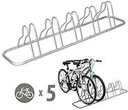 SimpleHouseware 5 Bike Rack Bicycle Floor Parking Adjustable Storage Stand, Silver