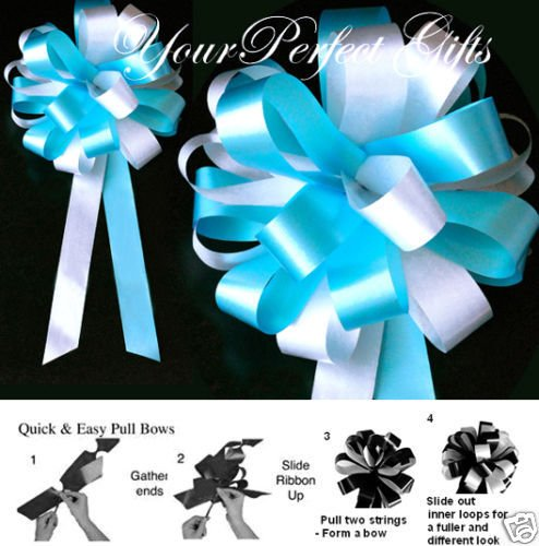 10 TEAL BLUE WHITE WEDDING 8'' PEW BOW BRIDAL DECORATION by your_perfect_gifts