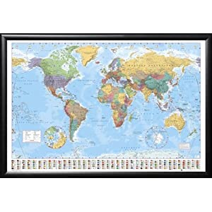 FRAMED World Map Poster 24x36 poster Dry Mounted in Real Wood Black Finish with Push Pins Crafted in USA