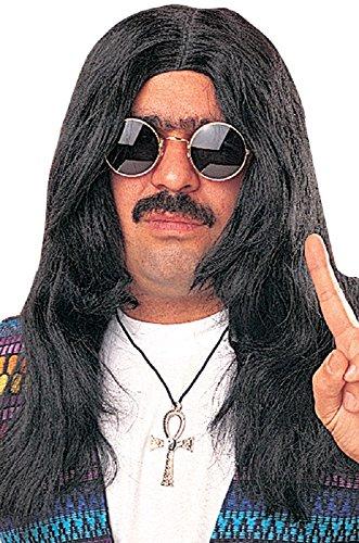 Long Wig Hair Hippie Black (60s Hippie Wig (black) Unisex Adult Halloween Costume Accessory)