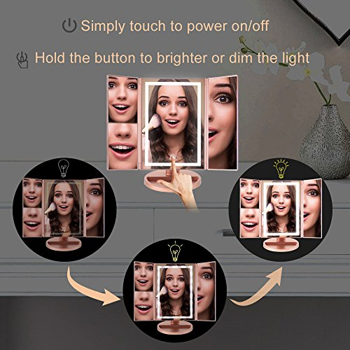 Lighted Makeup Mirror, Light Up LED Vanity Mirrors with 10x/3x/2x Magnifying, USB/Battery Dual Electric Power,Brightness Touch Adjustable, Tabletop Trifold Cosmetic Mirror Brighter(22 Bulbs) by NEW VIEW (Image #2)