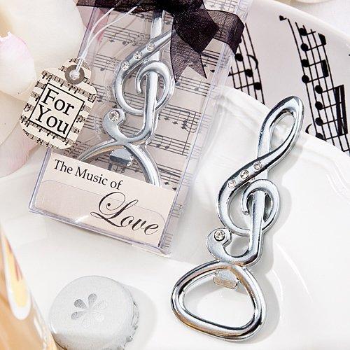 Musical note bottle opener favors