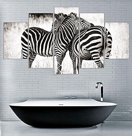 5pcs cebra lienzo amor – 5 piezas Lienzo, Enmarcado arte lienzo Zebra pinturas sobre lienzo