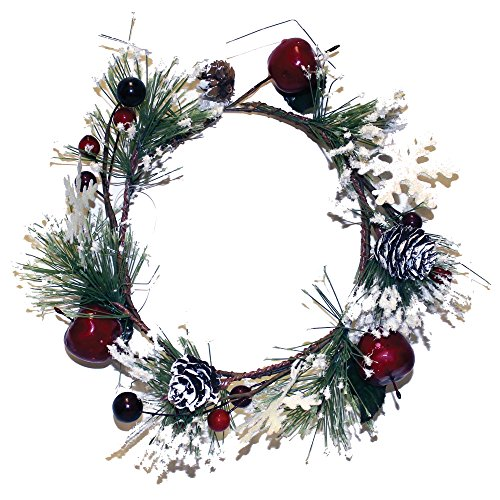 a cheerful giver snowy pine candle ring with apple and iron snowflake