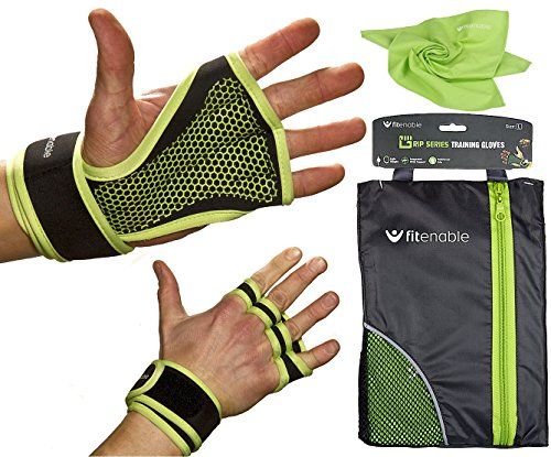 Weightlifting Workout Gloves With Wrist Wrap Support For Women & Men | Anti Slip With Padded Grip | Best For Crossfit WOD Lifting - Pullups - Deadlift - Fitness Training | FREE Light Weight Gym Towel