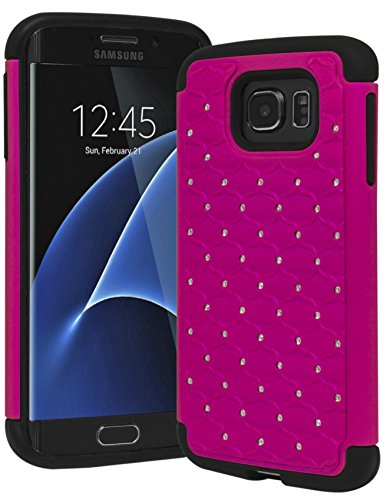 Bastex Slim Dual Layer Hybrid Rubber Silicone with Bling Rhinestone Case for Samsung Galaxy S7 Edge, ()