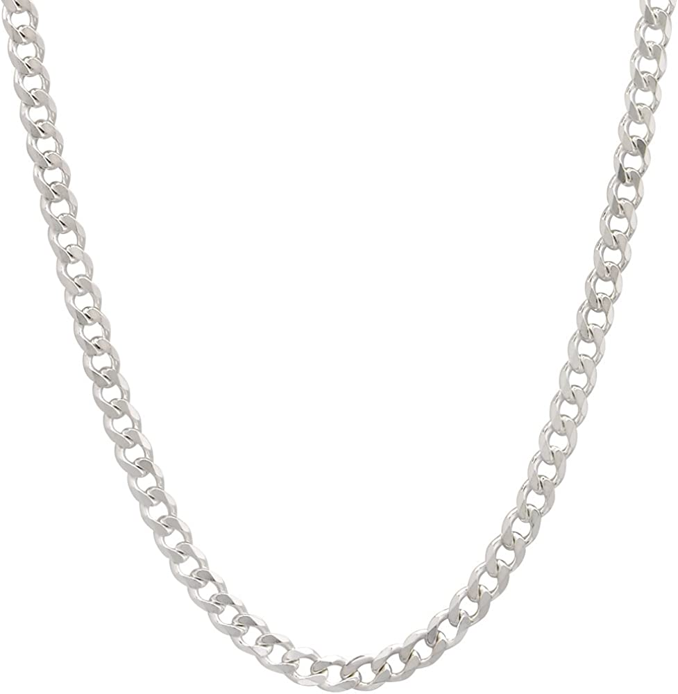 Solid Stainless Steel Silver 3MM Curb Chain Necklace 22Long Sterling Jewelry