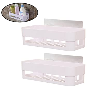 2 Pieces Multipurpose Self Adhesive Bathroom Shelf Kitchen Storage Holder  Box Organizer Basket Wall Mounted