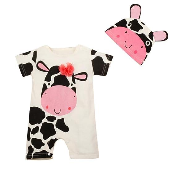 PAOLIAN Monos Ropa para bebé niños Unisex Verano Monos + Gorro Impresion de Vaca lechera Mameluco Peleles para bebés niños niña de 6 Meses 12 Meses 18 Meses ...