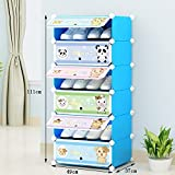 ALUS- Children 's Simple Cartoon Shoe Cabinet,Combination Of Large-capacity Multi-layer Resin Plastic Shoes Storage Rack,Dust-proof Small Shoe Rack ( Size : 4937111cm )