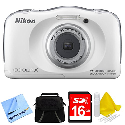 Nikon COOLPIX S33 13.2MP Waterproof Shockproof Freezeproof Digital Camera White Bundle - Includes Camera, Compact Deluxe Gadget Bag, 16GB Secure Digital SD Memory Card, Cleaning Kit and Cleaning Cloth by Nikon