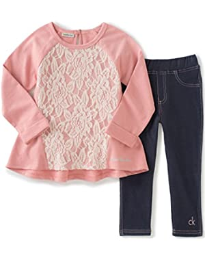 Baby Girls' French Terry/Lace Overlay with Jeggings Set