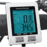 Outdoormaster Wireless Bike Computer, Waterproof Multifunction Cycling Speedometer With Backlit Display (White)