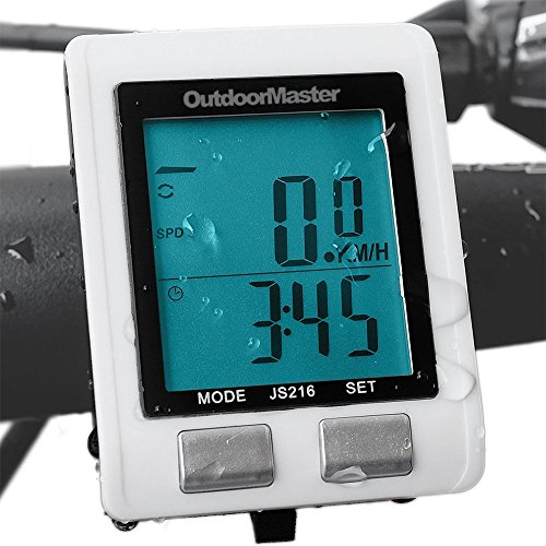 Outdoormaster Wireless Bike Computer, Waterproof Multifunction Cycling Speedometer With Backlit Display (White) - Computer List