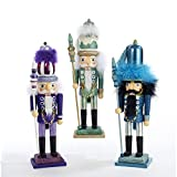 Kurt Adler Holly Wood 15-Inch Turquoise, Purple & Blue Nutcrackers W/feather On Hat - Set Of 3