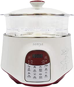 Bonus Pack Sonya Multifunctional Cooker 3 Ceramic Pot Smart Electric Slow Stew Pot with a Large Steam Tray, 3 in 1 2.2L SDZ-22EW