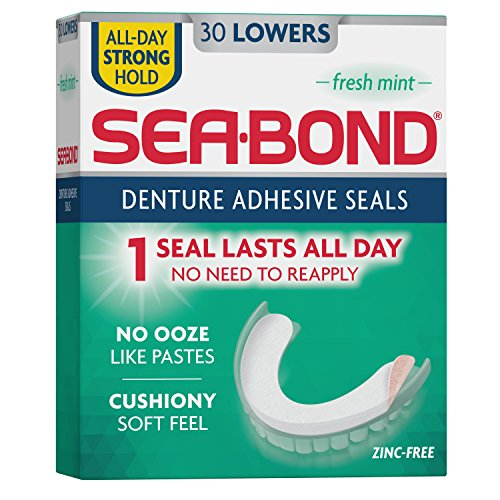 Sea Bond Secure Denture Adhesive Seals  Fresh Mint Lowers  30 Count