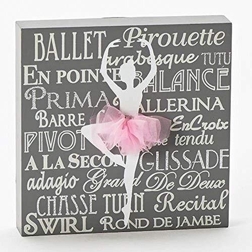 Ballerina Silhouette with Pink Tutu Applique 5.5 x 5.5 inch Wood Plaque Sign - Ballerina Decor Room