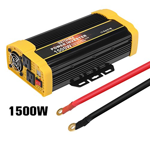 Vetomile 1500W Power Inverter DC 12V to AC 110V Car Inverter with 2.1A Dual USB Car Adapter by Vetomile